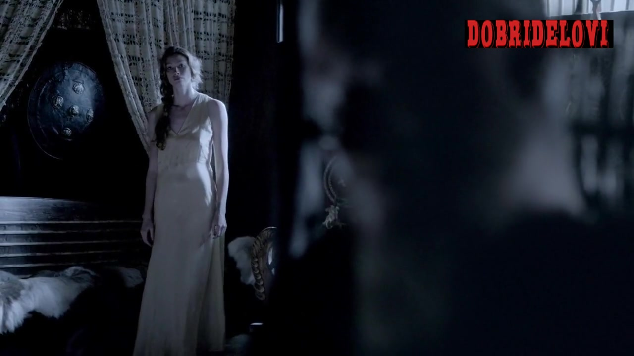 Alyssa Sutherland undressing scene from Vikings