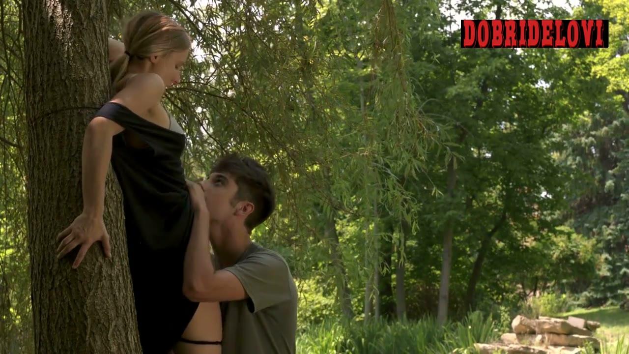 Kristen Bell panties pulled off in the woods