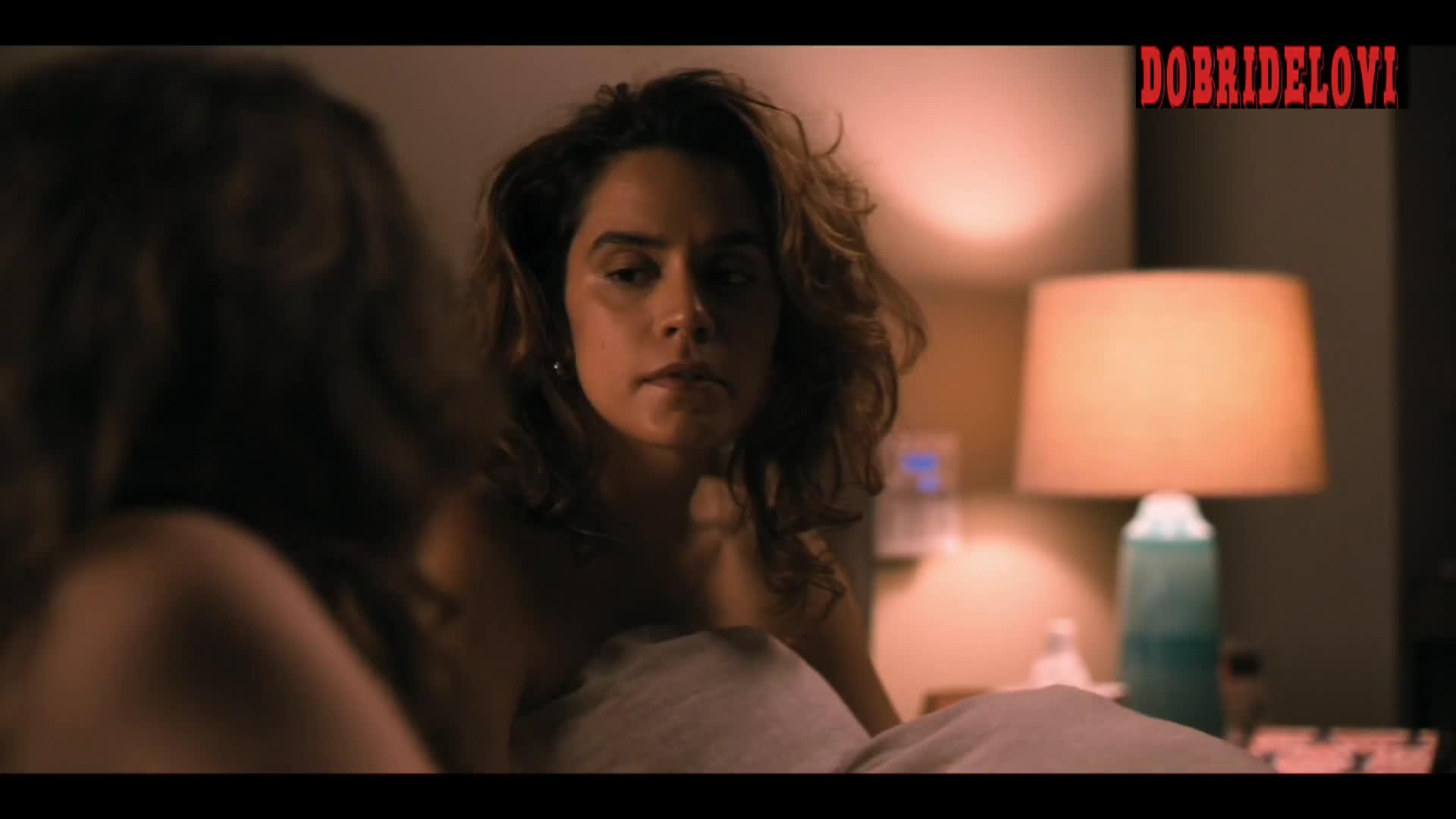 Stephanie Allynne sideboob in bed scene