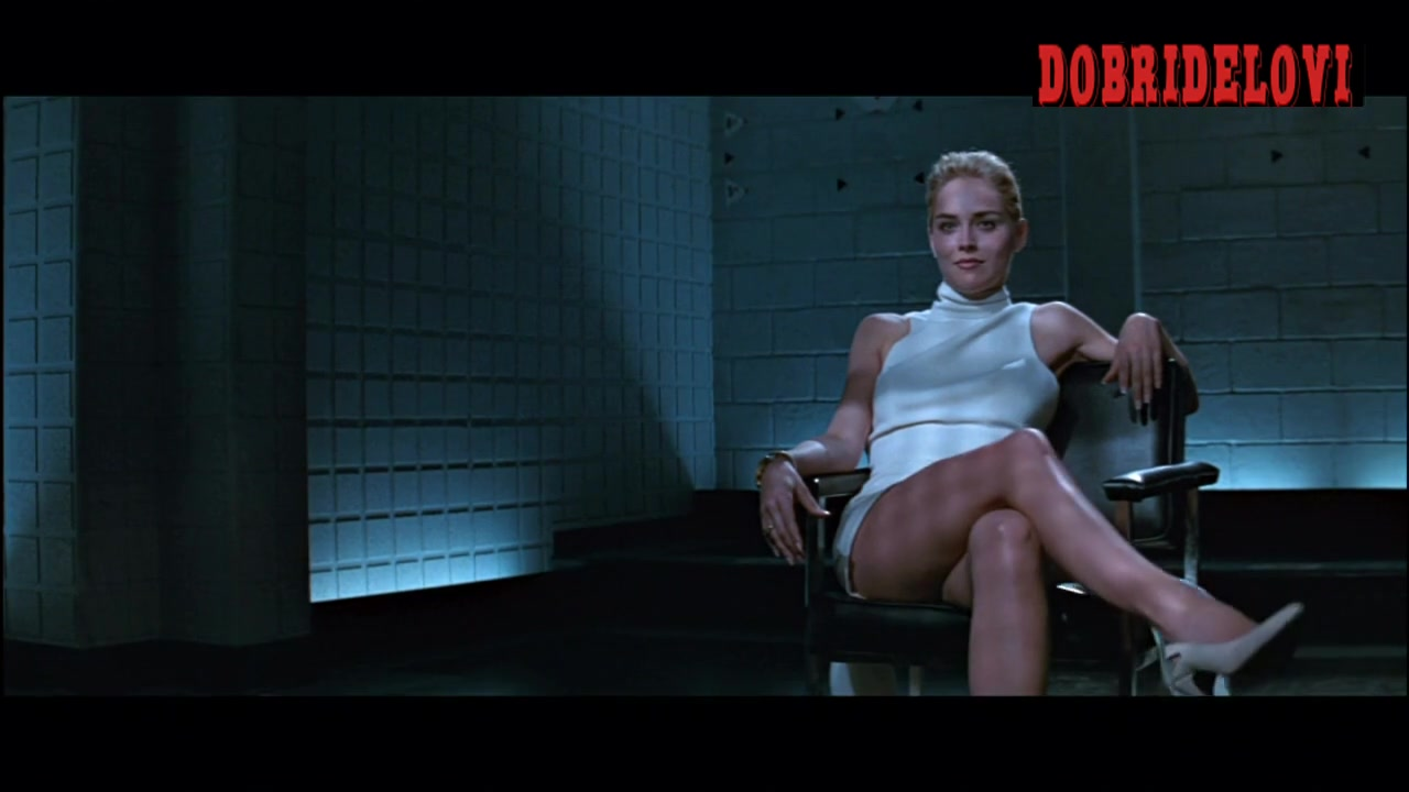 Sharon Stone legendary crossing and uncrossing legs scene video image