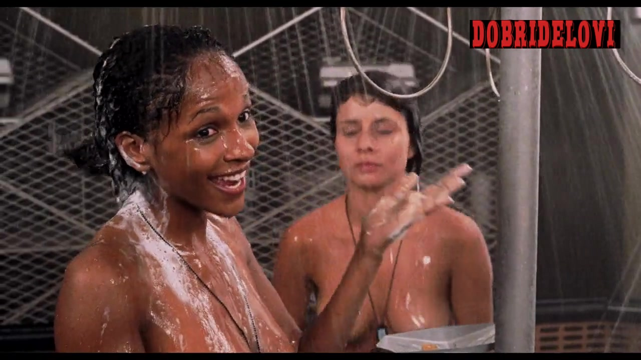 Dina Meyer, Tami Adrian George, Blake Lindsley and Brooke Morales shower scene from Starship Troppers