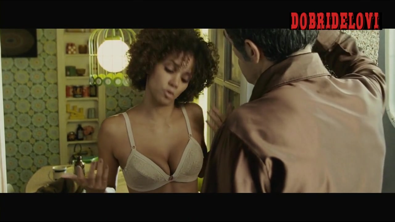 Halle Berry answers the door in underwear