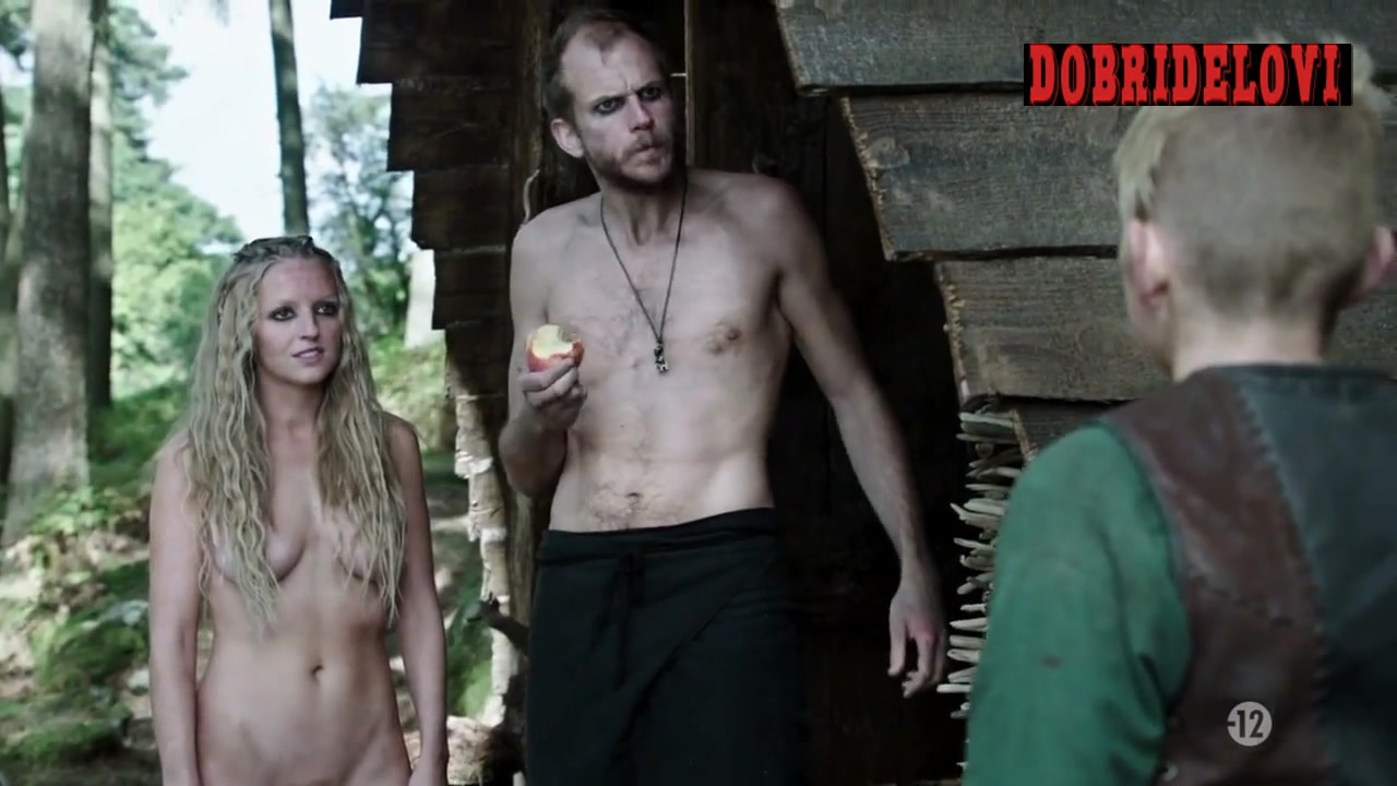 Maude Hirst nude in the woods scene from Vikings