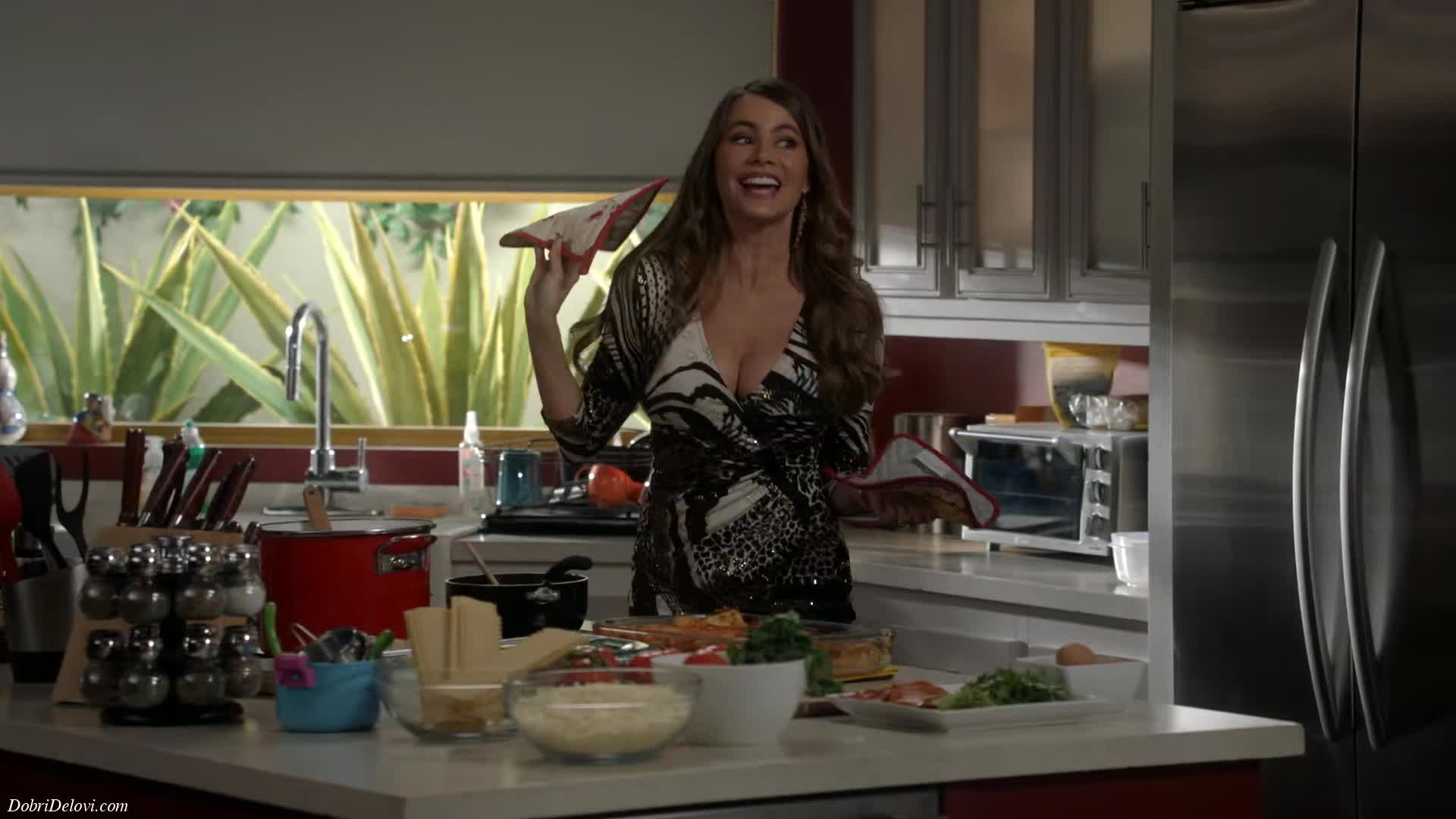 Sofia Vergara cooking with huge cleavage