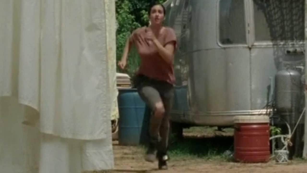 Alanna Masterson sexy scene in The Walking Dead