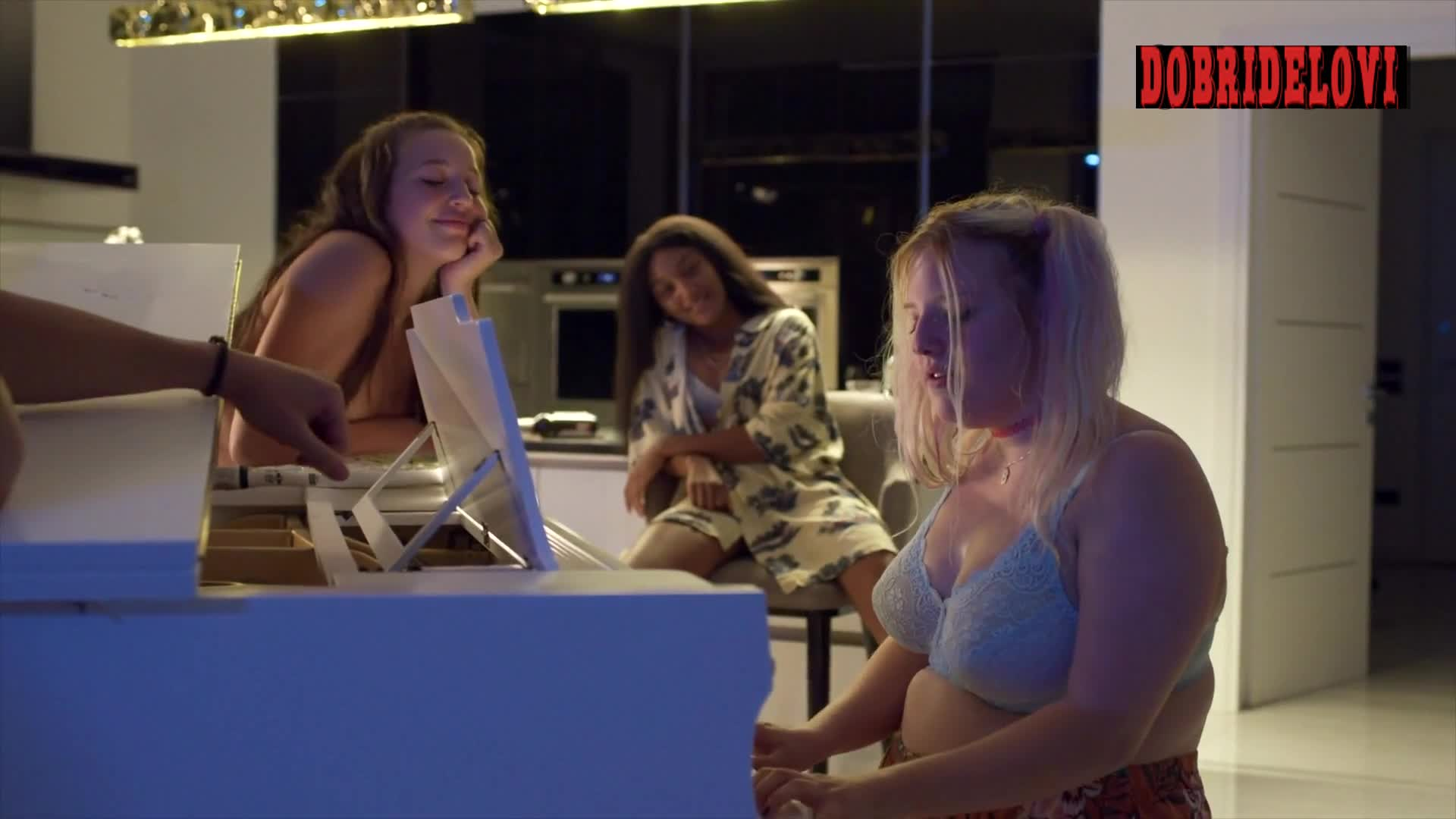 Francesca Scorsese plays the piano with topless Vittoria Bottin leaning in scene from We Are Who We Are