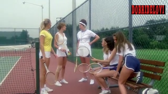Pita Oliver and Jamie Lee Curtis sexy in tennis court scene from Prom Night