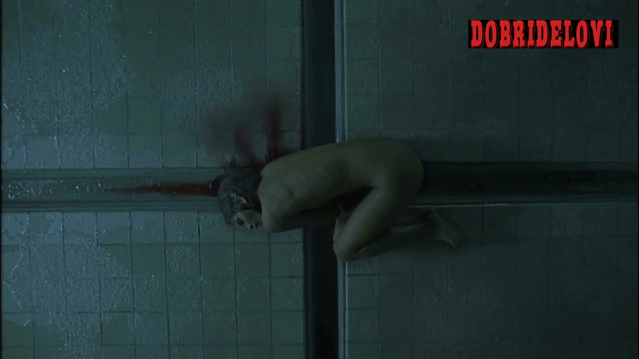 Halle Berry nude in shower on floor scene from Gothika