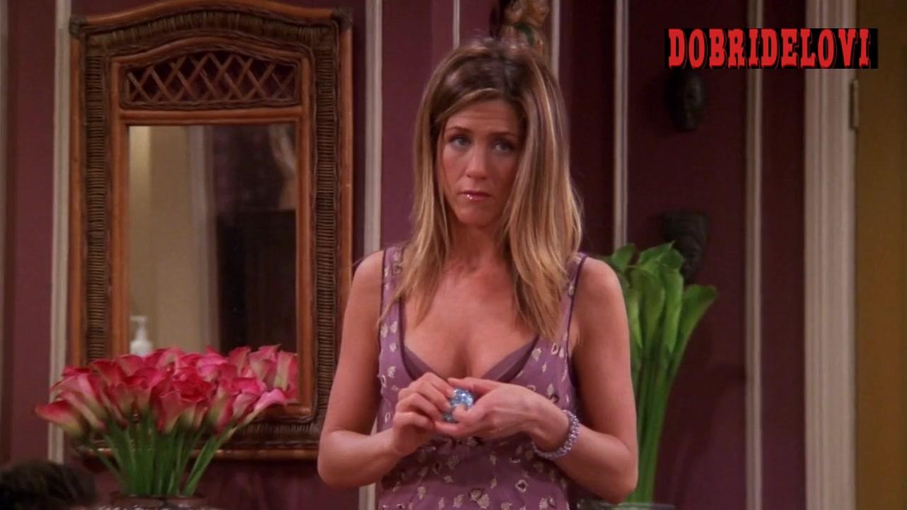 Jennifer Aniston purple dress scene from Friends