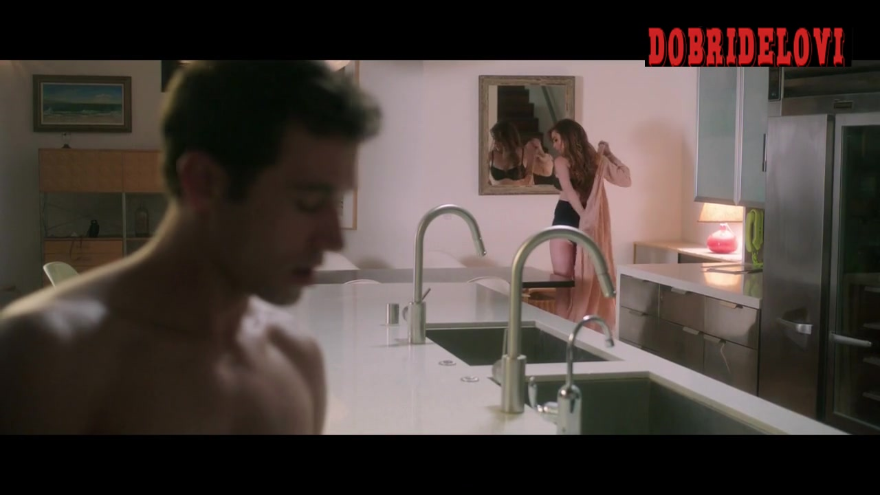 Lindsay Lohan undressing in the kitchen scene from The Canyons