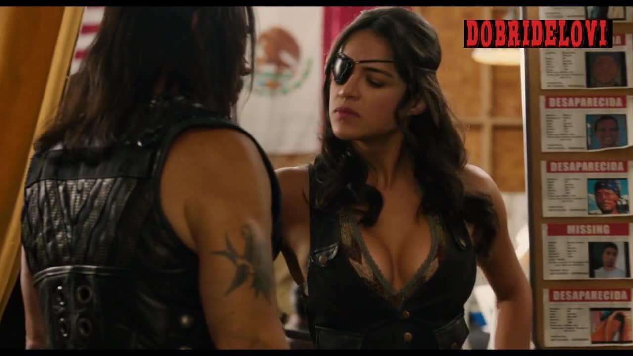 Michelle Rodriguez sexy black leather vest scene from Machete Kills