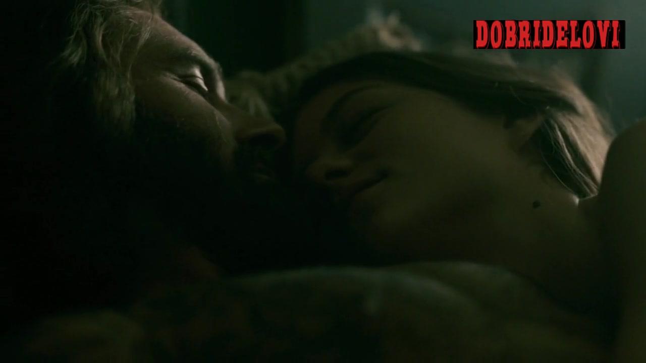 Morgane Polanski undressing dark scene from Vikings