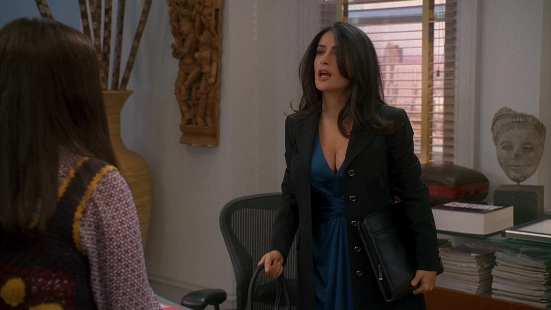 Salma Hayek sexy cleavage in blue dress scene from Ugly Betty