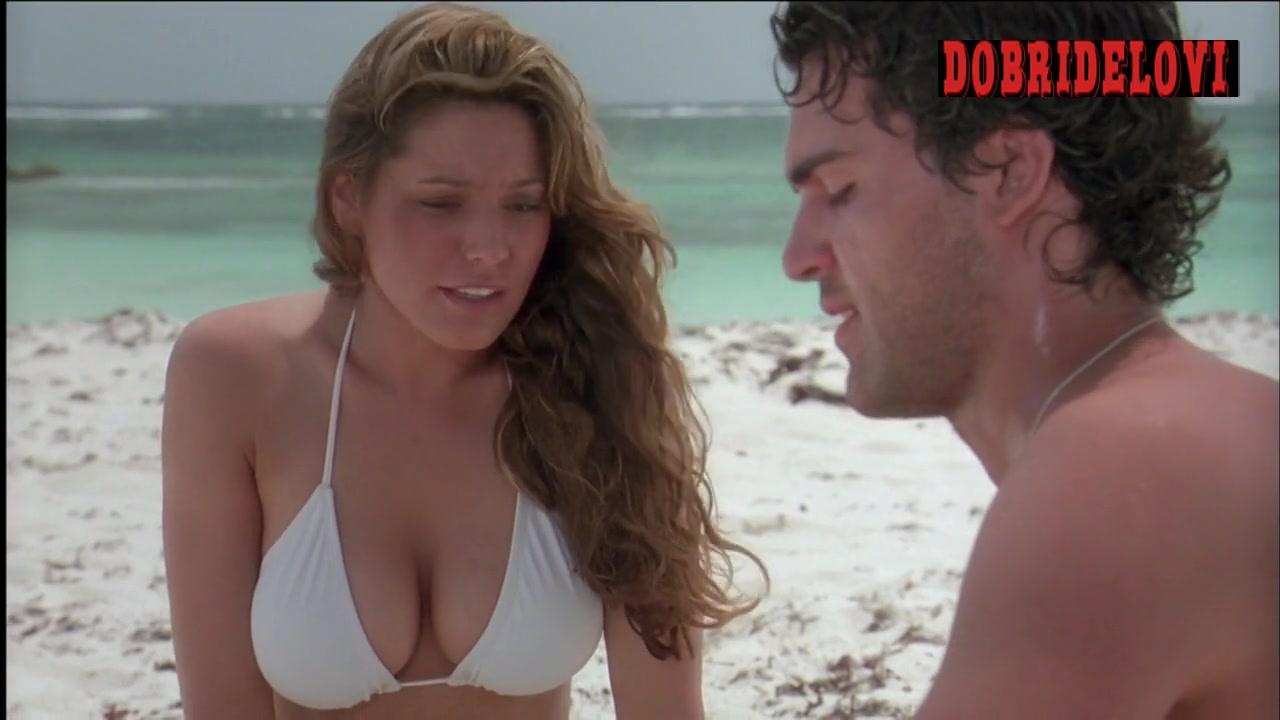 Kelly Brook sexy white bikini in the beach for Survival Island scene
