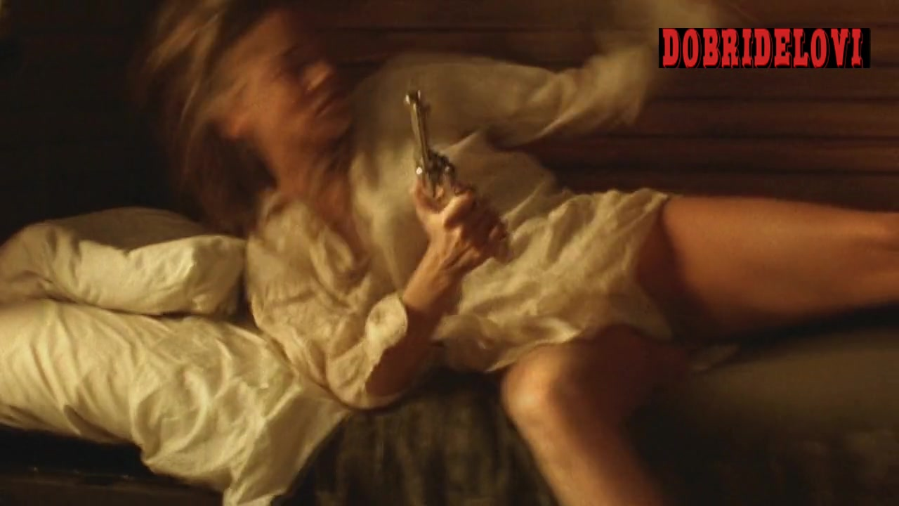 Sharon Stone up skirt getting out of bed scene from The Quick and the Dead