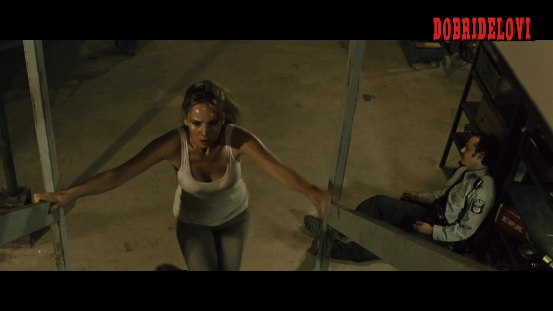 Jennifer Lawrence bouncing boobs running up the stairs