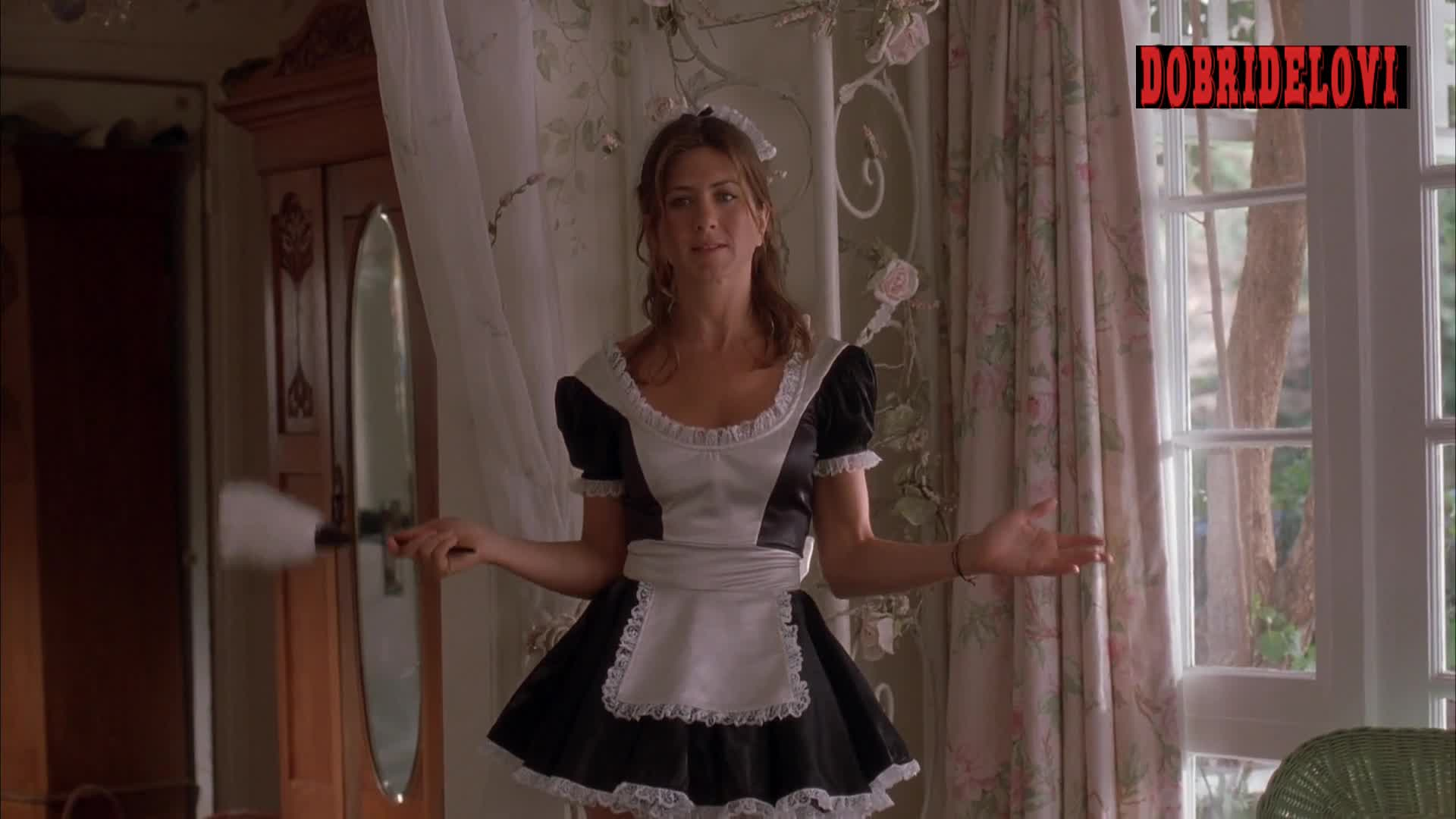 Jennifer Aniston french maid role playing scene