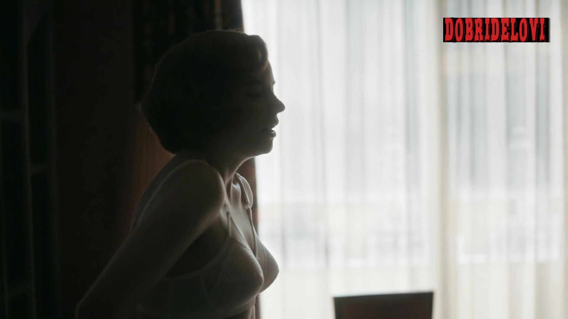 Anya Taylor-Joy wearing white bra scene from The Queen's Gambit