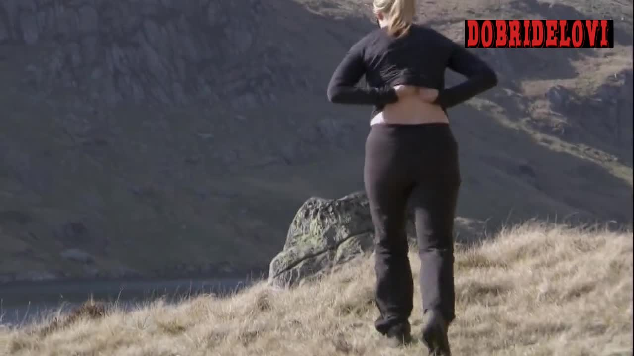 Kate Winslet outdoor pokies scene from Running Wild with Bear Grylls