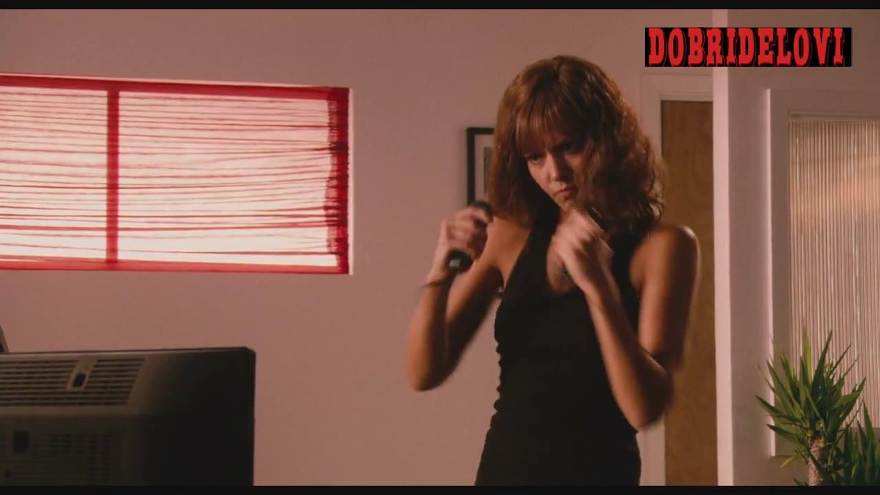 Jessica Alba exercising martial arts in console scene from Machete