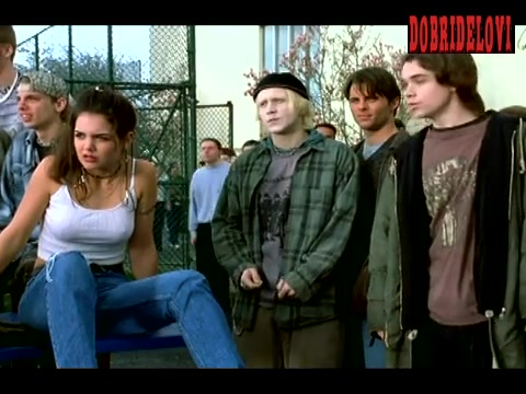 Katie Holmes pokies watching car being destroyed from Disturbing Behavior