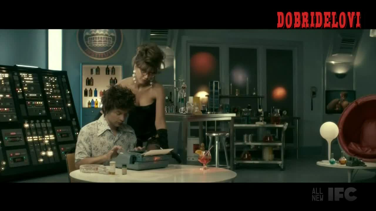 Jessica Alba black corset in lab scene from The Spoils of Babylon
