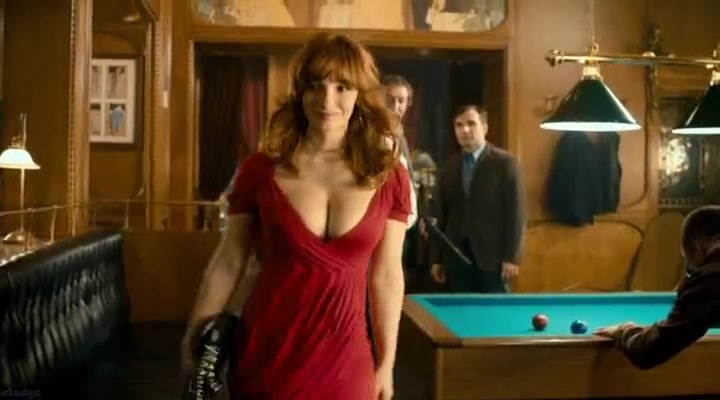 Vica Kerekes sexy red dress walking towards pool table