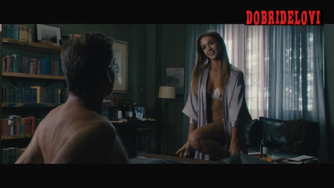 Jessica Alba seduces Pierce Brosnan with open robe