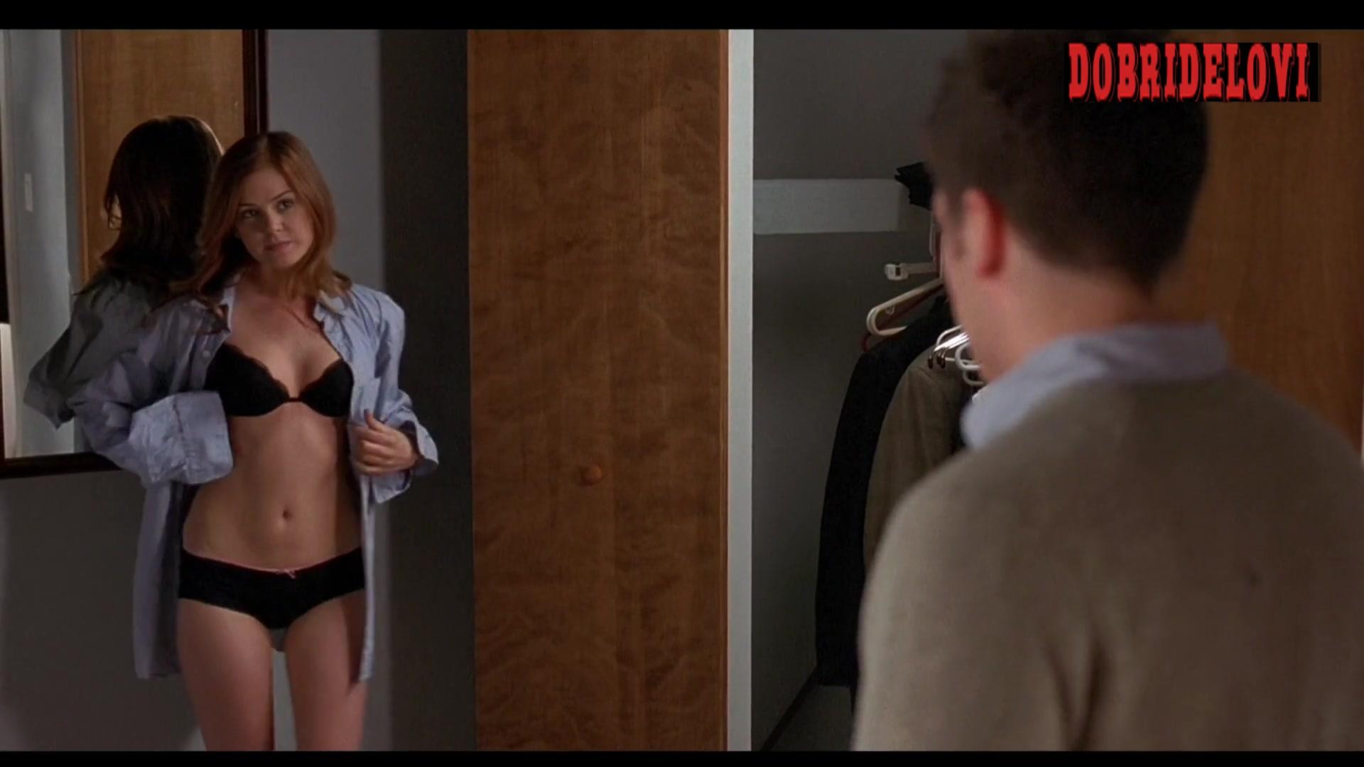 Isla Fisher sexy in black bra and panties -- Wedding Daze