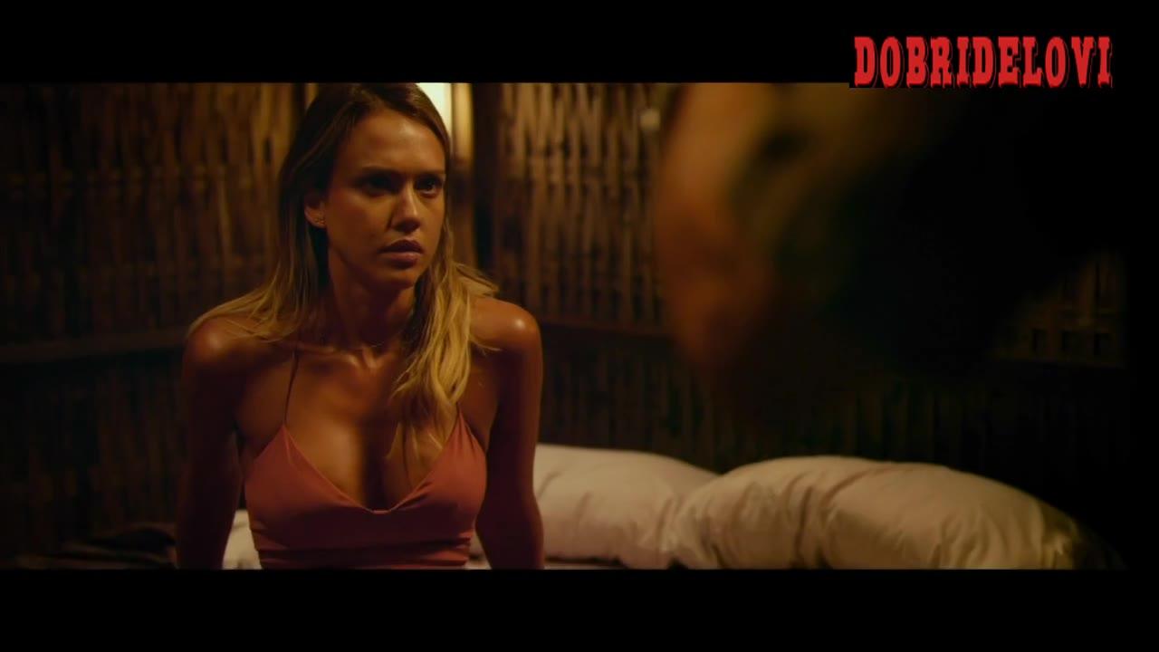 Jessica Alba sexy cleavage scene from Mechanic Resurrection