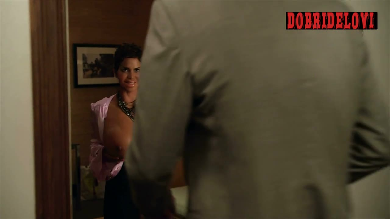 Halle Berry answers the door with open blouse for Stephen Merchant