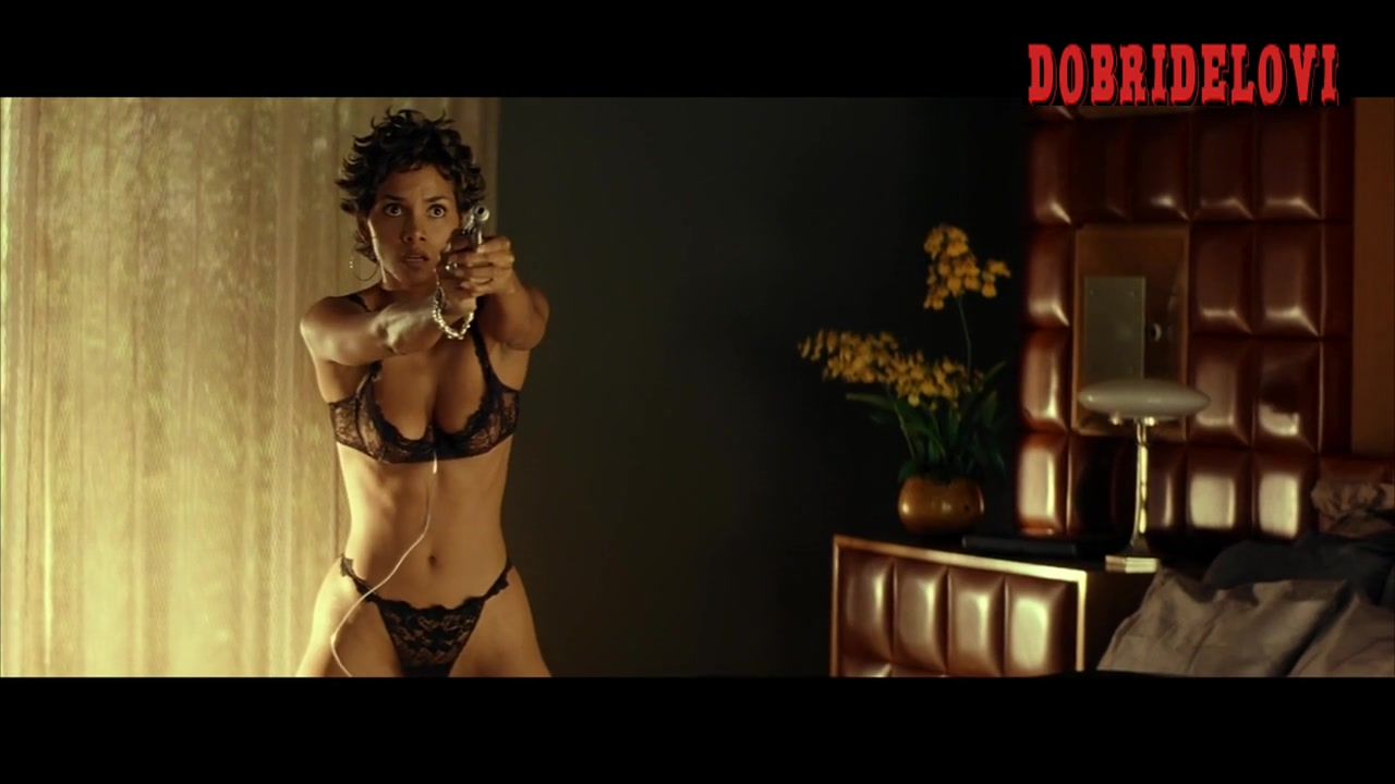 Halle Berry undresses in black lingerie surpised by Hugh Jackman