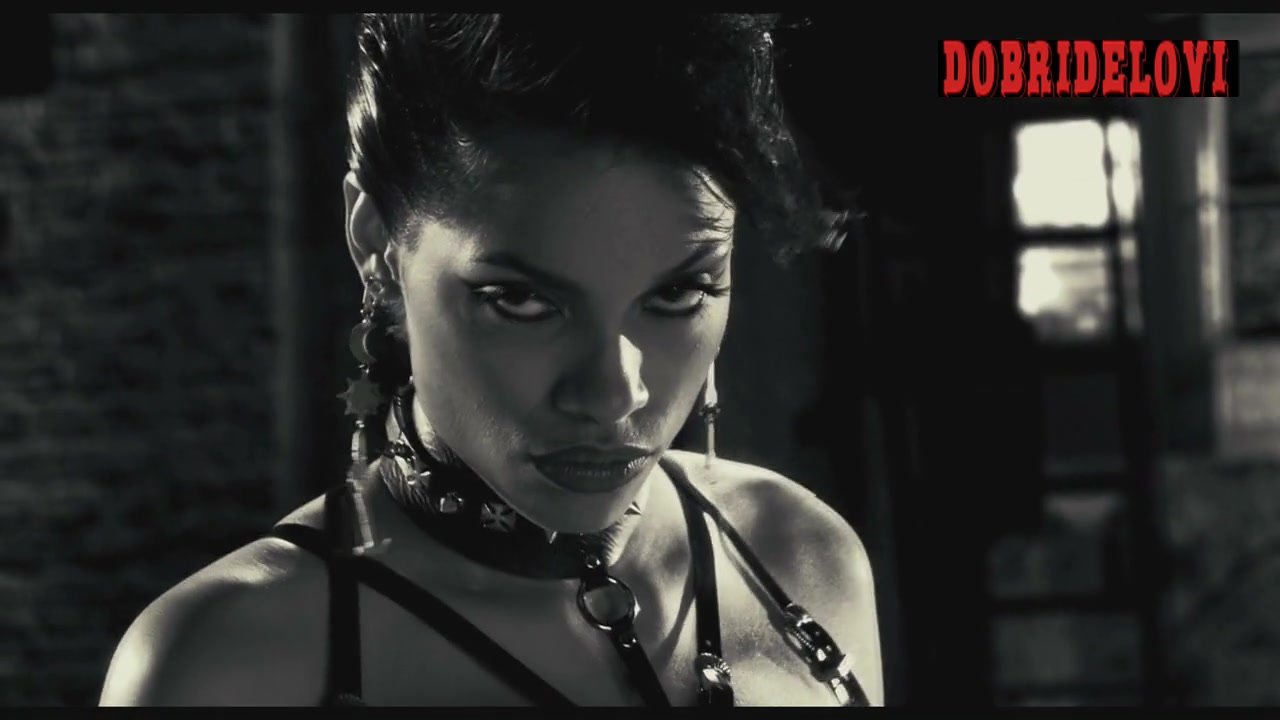 Rosario Dawson leather harness scene from Sin City
