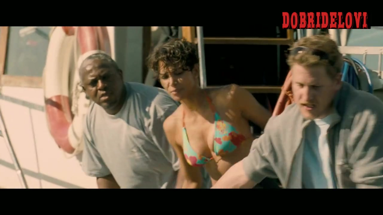 Halle Berry cleavage on a boat scene from Dark Tide