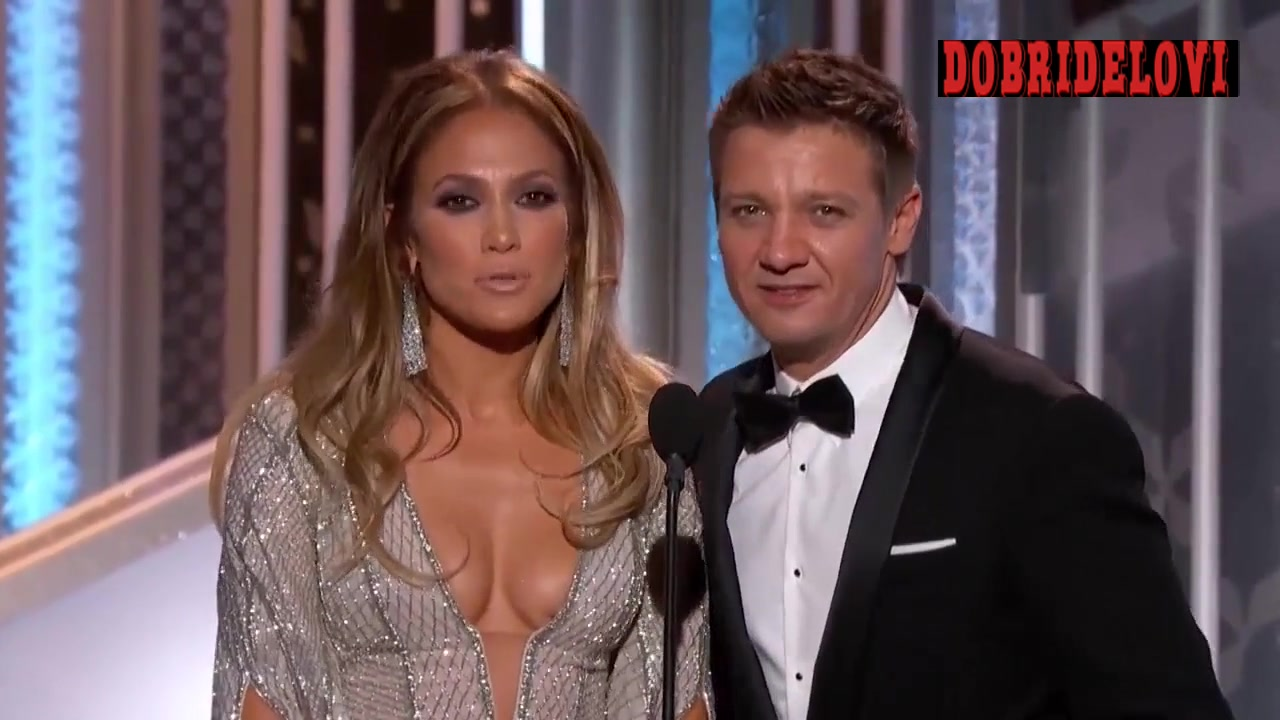 Jennifer Lopez and Jeremy Renner hosting The Golden Globe Awards