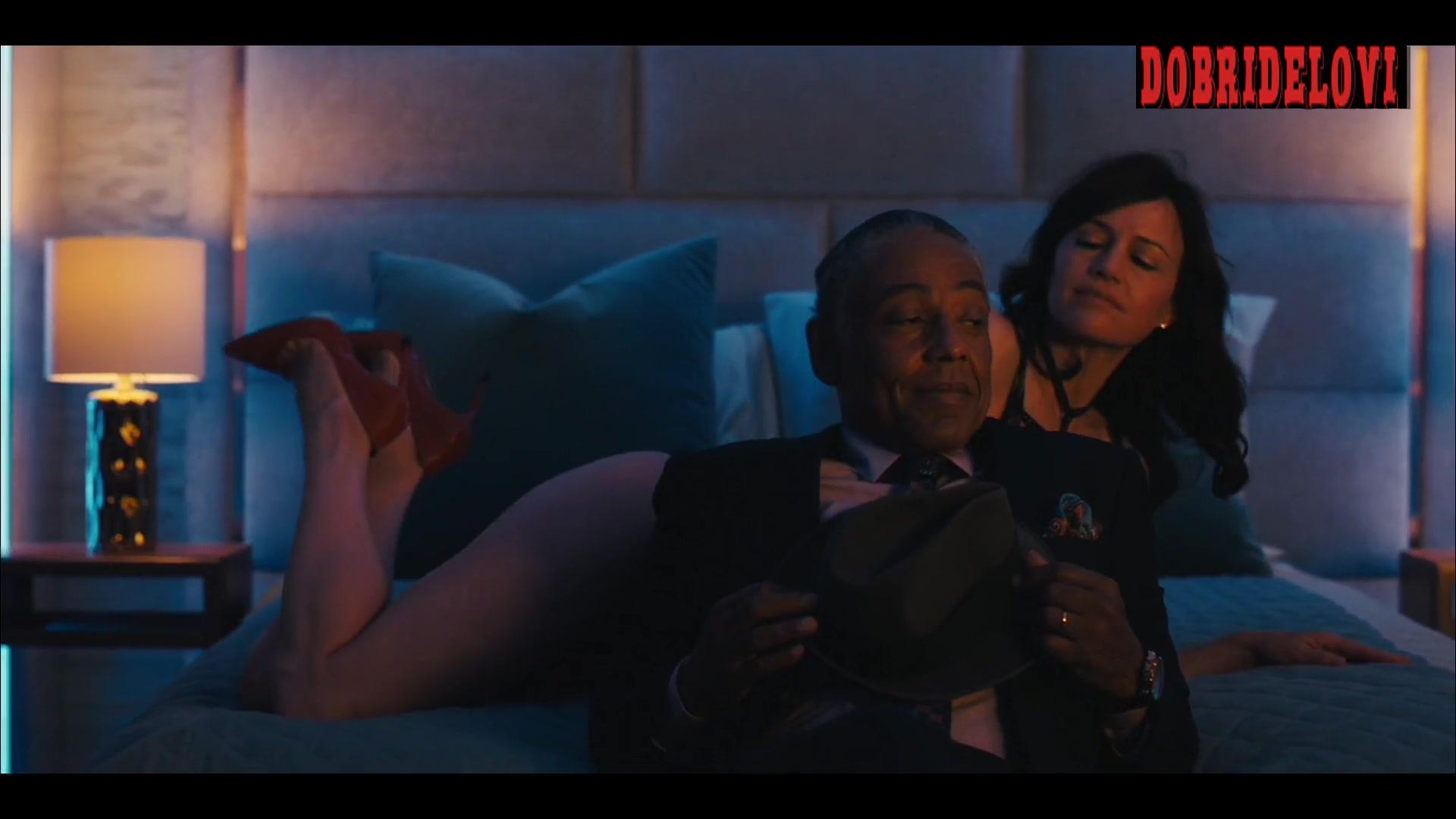 Carla Gugino black lingerie in bed scene from Jett