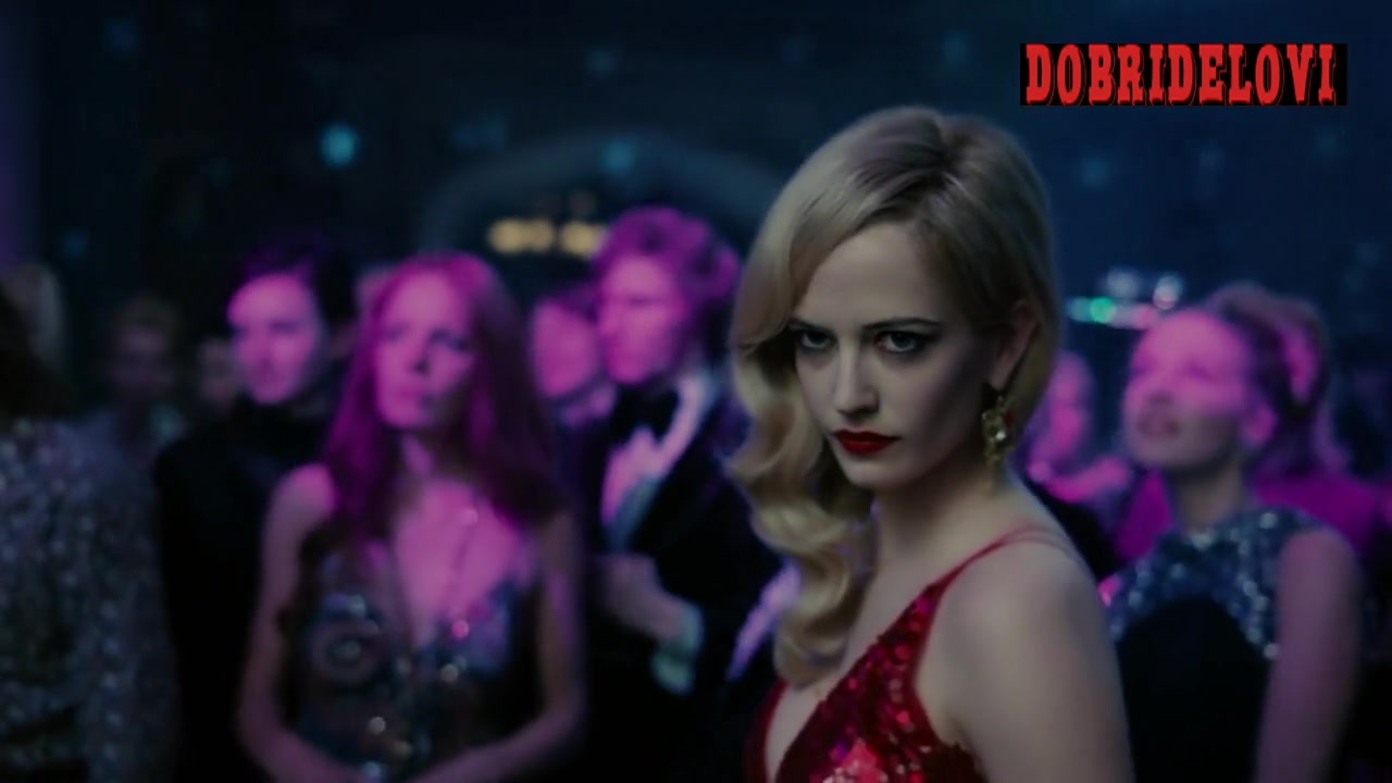 Eva Green sexy cleavage in red dress scene from Dark Shadows