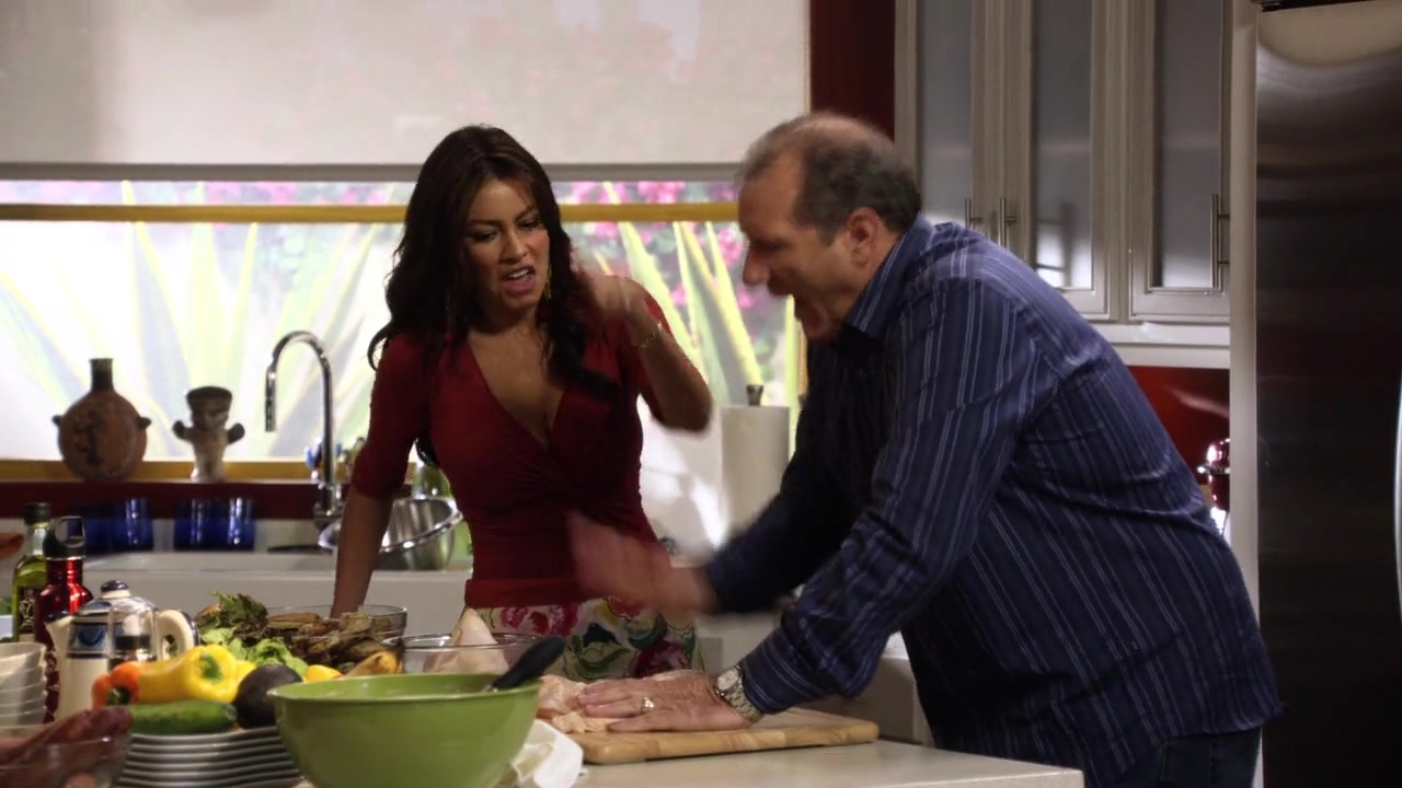 Sofia Vergara cleavage pranking Ed O'Neil in the kitchen