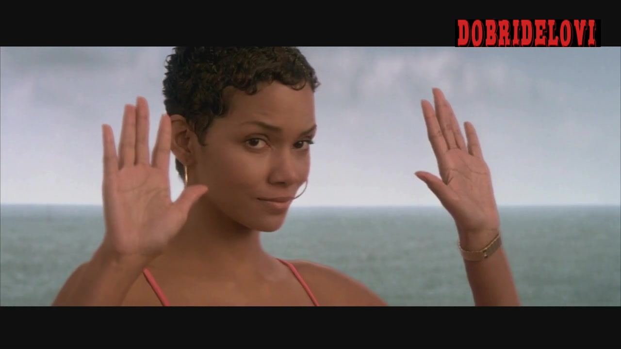 Halle Berry fucia bathing suit scene in Die Another Day