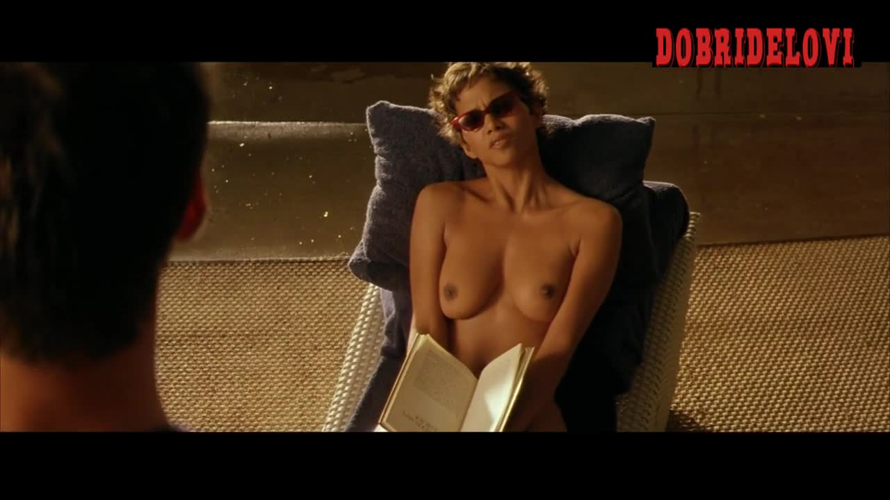 Halle Berry topless reading book scene from Swordfish