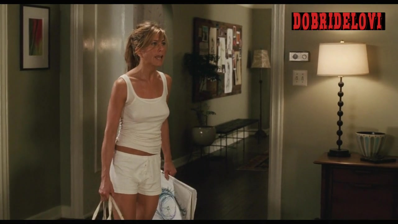 Jennifer Aniston pokies on white tank top scene from The Break Up