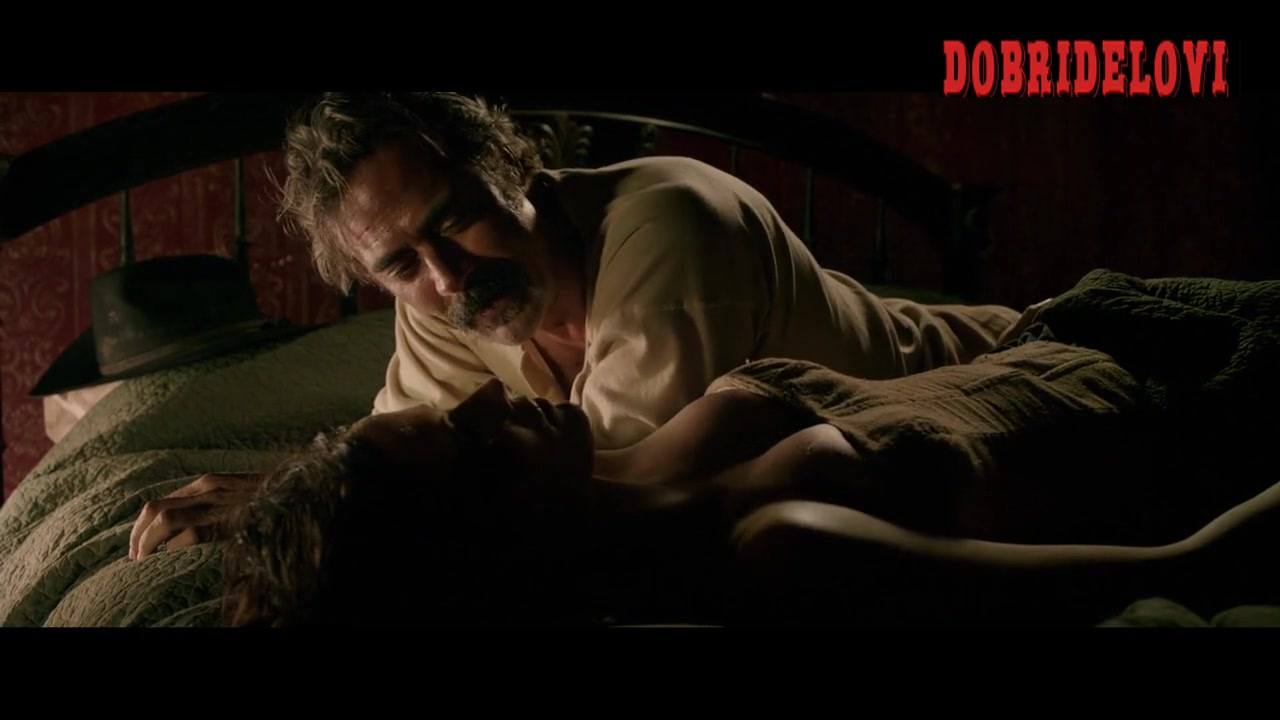 Eva Green cleavage laying in bed scene from The Salvation