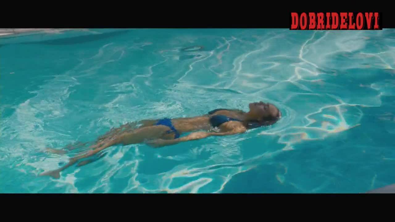 Jessica Alba sexy blue bikini in pool scene from Some Kind of Beautiful