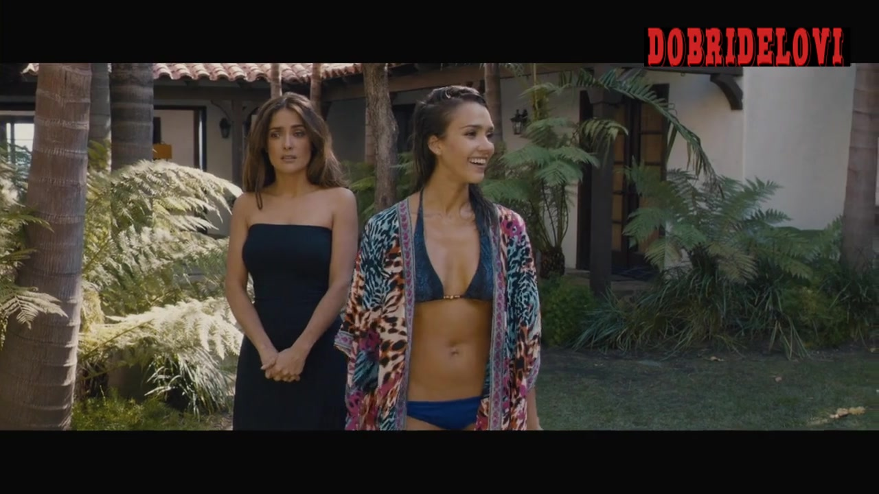 Jessica Alba wet body open robe pool side scene in Some Kind of Beautiful