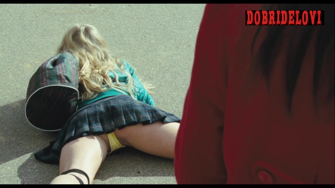 Amanda Seyfried short skirt, yellow thong and roller blades scene from Boogie Woogie