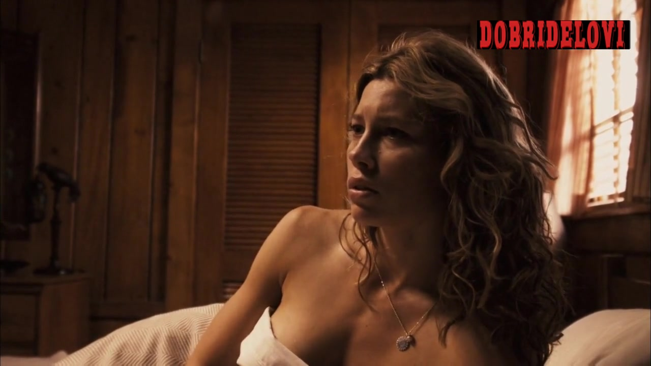 Jessica Biel kissing Nicolas Cage in bed scene from Next