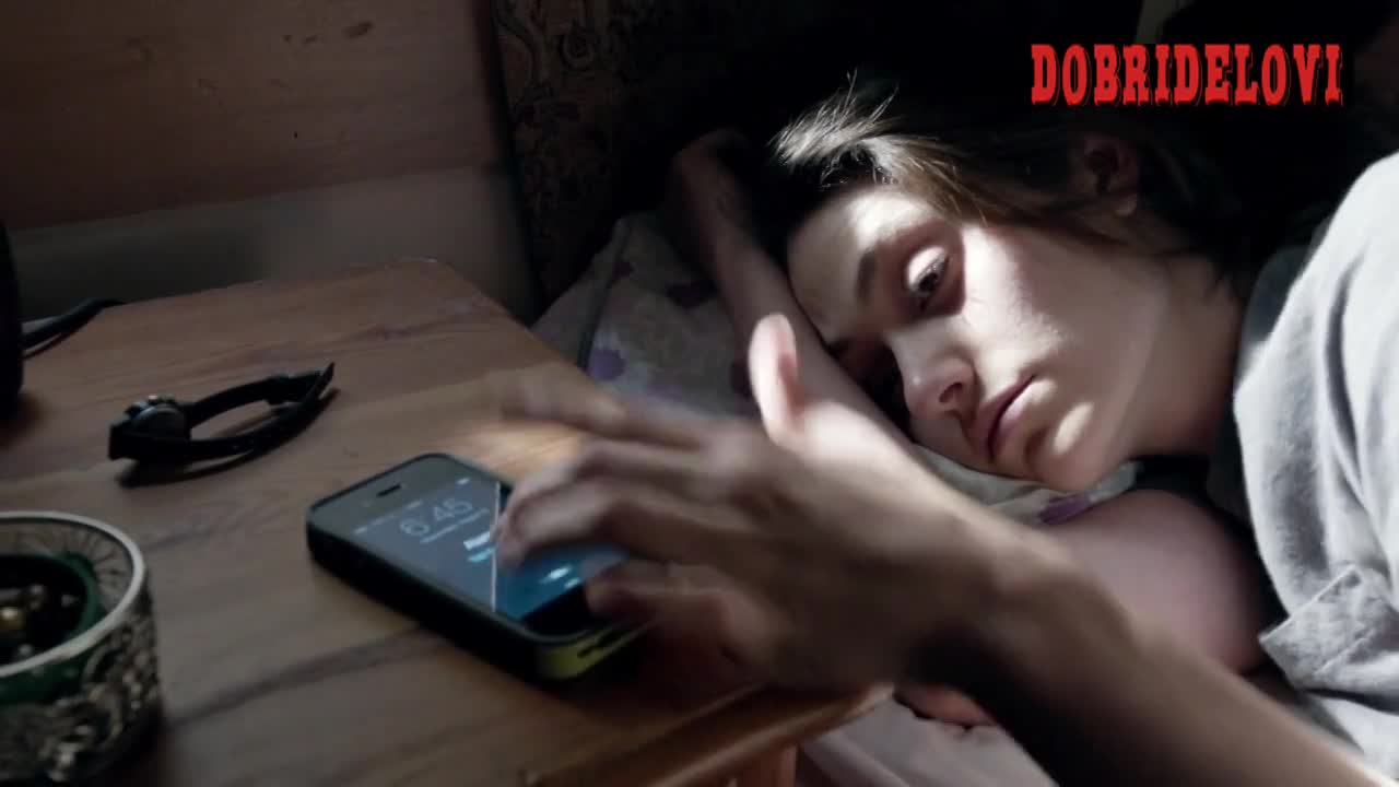 Emmy Rossum getting out of bed and undressing scene from Shameless