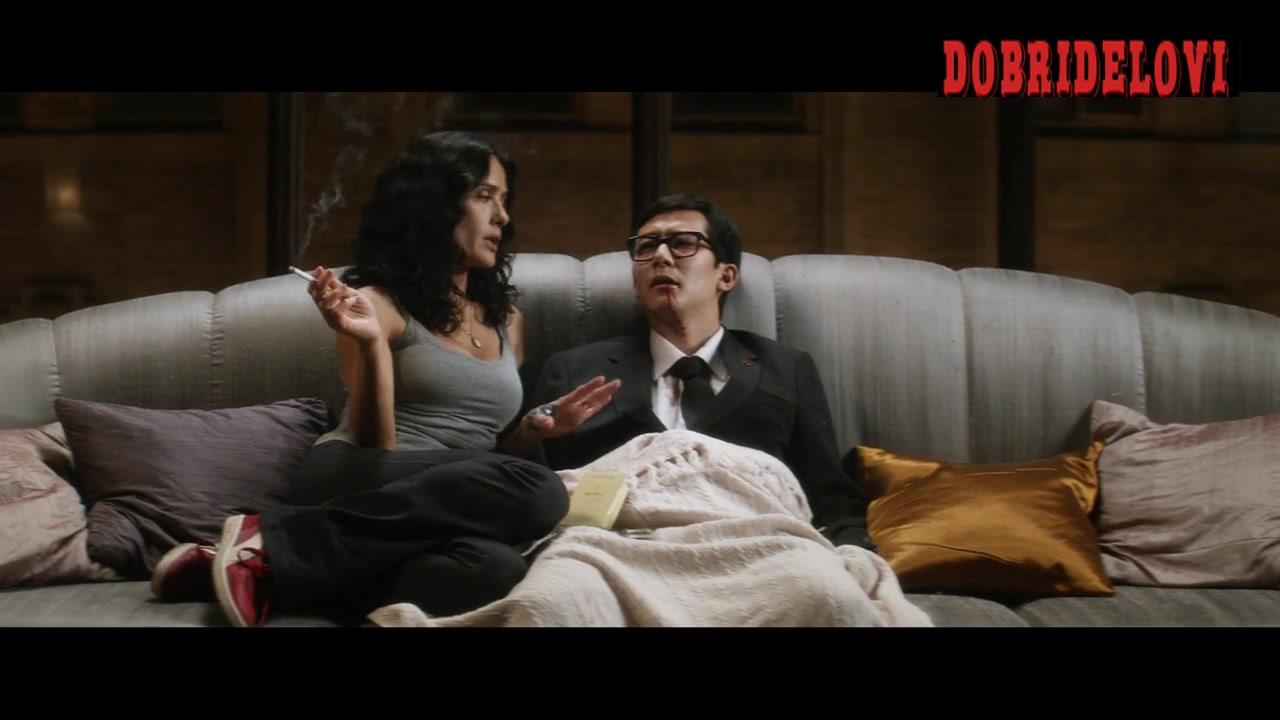 Salma Hayek smoking with dieing Akie Kotabe scene from Everly