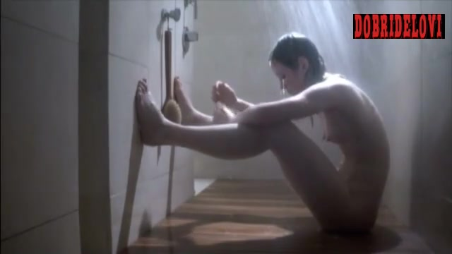 Louisa Krause examining vagina in shower scene from Toe to Toe