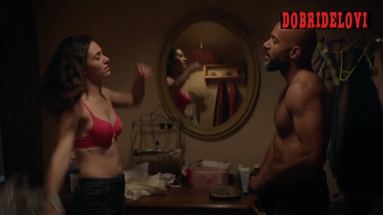 Emmy Rossum undressing revealing pink bra scene from Shameless